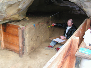 Clay working at Swordfish Cave